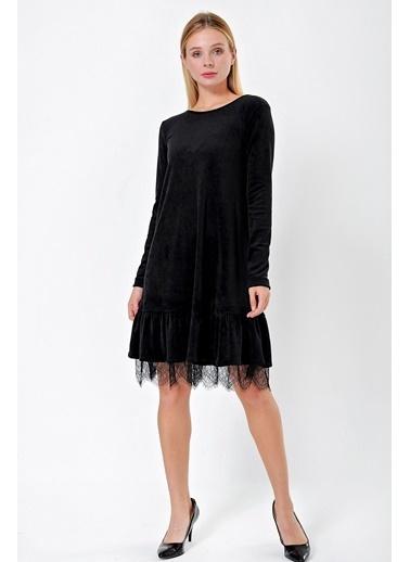 Jument Kadın Havlu Kadife Eteği Pileli Dantelli Uzun Kol Elbise-Siyah Siyah
